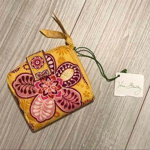 NWT Vera Bradley mini zip wallet in Bali gold